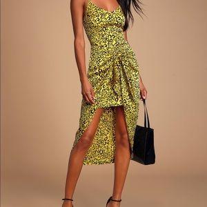 Lulus leopard print satin high-low dress